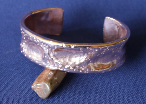 Copper Textured Air Hammered Cuff