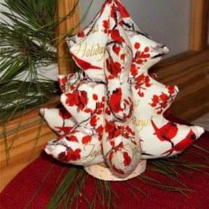 3D Cardinal Christmas Tree, Soft Sculpture Tree, Holiday Accent, Gift, Christmas Decoration
