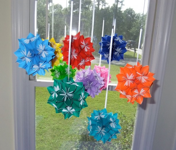 Rainbow Origami Flower Ball Mobile Aftcra