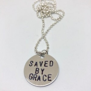 SAVED BY GRACE Metal Stamped Necklace