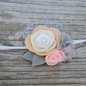 Peach Flower Headband { Made in The USA By Hands }