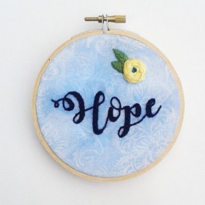 Hope Hand Embroidery Hoop- Wall Art (4 inch)- Designed for Hopebox