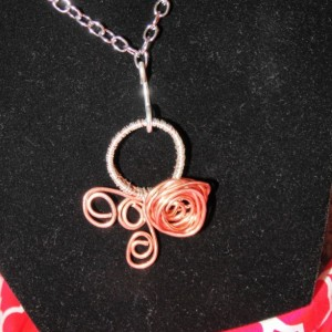Wire Wrapped Necklace, Natural Copper, Sterling Silver, Rose Pendant