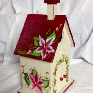 church birdhouse one stroke flowers