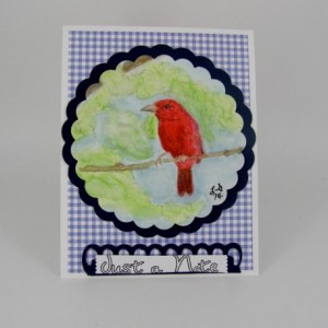 Watercolor Greeting Card, Summer Tanager