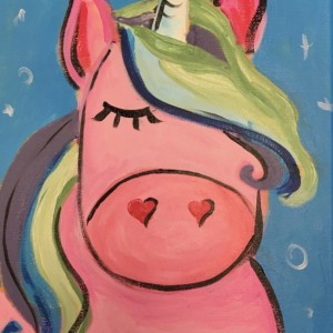 Pink Unicorn Painting on Canvas-Free Shipping