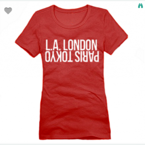 LA London Paris Tokyo XS To XL District Brand Crew T-shirt For Women In Red With White Ink