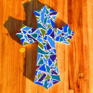 Wall Cross, Mosaic wall, Mosaic wall cross, Cross Baptism gift, Confirmation gift, Gift for mom, Large wall cross, Religious decor, wall art