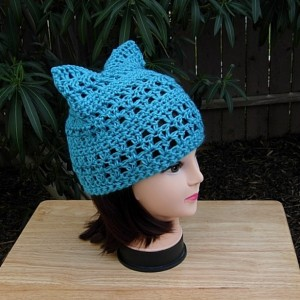 Turquoise Blue Pussy Cat Hat w/ Ears, Summer Lacy PussyHat Lightweight Soft Acrylic Crochet Knit Thin Spring Warm Weather Beanie, Ready to Ship in 3 Days