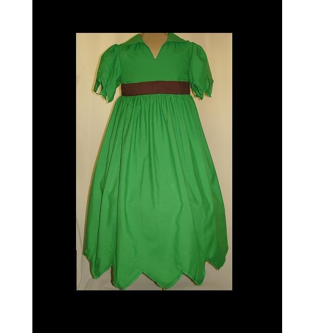 Peter Pan Dress Custom sized(-----)Jagged edge sleeves and Hemline(-----)Hat to Match(-----)Sizes 18 months to Girls size 8