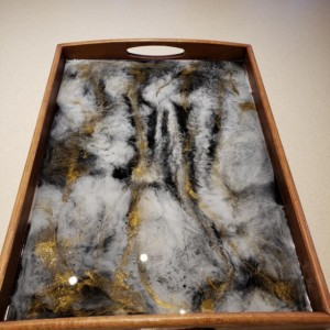 Medium Stone Geode Look Serving Tray, Resin Art, Epoxy Art, Hand Painted Tray, Black and Gold, Bamboo Serving Tray, Epoxy Resin Art Tray
