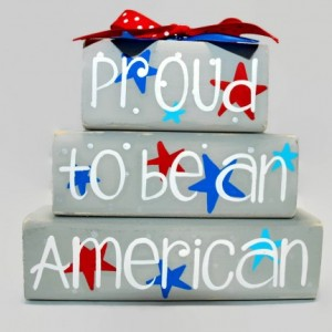 July 4th Proud To Be American Star Decor WoodenBlock Shelf Sitter Stack