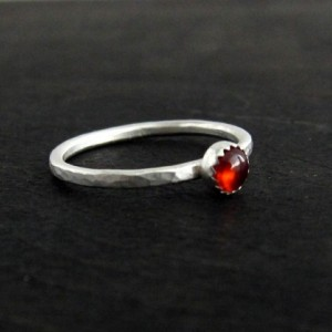 Garnet Sterling Silver Dapple Hammered Ring 1.5mm Handmade Forged Band - stacking ring -