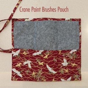 Crane Paint Brushes Pouch - Watercolor Brushes Wraps | Red Artist Roll | Brushes Holder | Brush Roll | Gift for Painters | Brushes Case