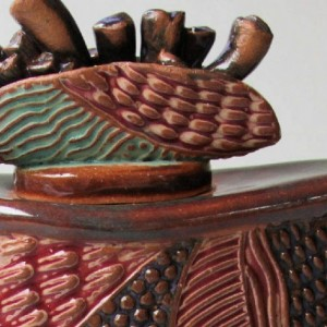 Angel In The Room Pottery Vessel with Lid Hand Built Hand Made