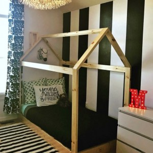 Made in US Twin House Bed Frame + slats + chimney
