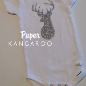 Silver Glitter Deer Snap Bodysuit, 6-9 months, Ready to Ship