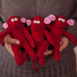 Sock Monkey Toy - Stuffed Animal Doll, Small Personalized Gift for Babies, Kids or Women, Soft and Handmade - Red