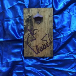 Wall Mounted Bottle Opener Featuring Hand Burned Pink Camo Deer Love Symbol
