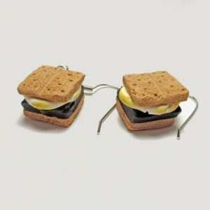 S'mores Earrings, Camping Jewelry Earrings, Summer Camp Jewelry, Campfire Smores, Marshmallow Earrings, Chocolate Earrings, Smores Jewelry