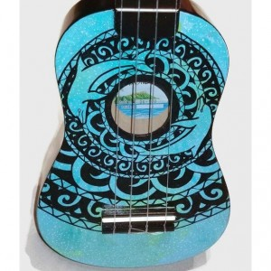 Concert Ukulele Galaxy Dolphin Mandala, Hand Painted, Decorated Ukulele, Galaxy Paint, Dolphin Ukulele, instrument, Soprano, tenor, baritone