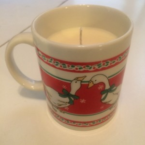 Christmas Swan Mug 14 oz Soy Wax Candle- Eggnog Scented