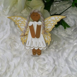 Wood Angel Charm / Ethnic Angel / White Dress Gold Accents / Mosaic Gold Butterfly Wings / Hanging Angel Art / Gift for Angel Lover