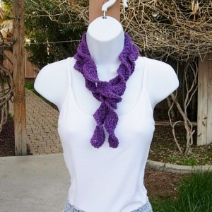 Solid Dark Purple Skinny SUMMER SCARF Small 100% Cotton Spiral Twisted Narrow Lightweight Women's Thin Crochet Knit, Ready to Ship in 3 Days