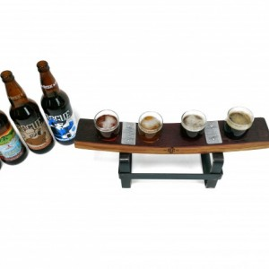 SAMPLER - Lovia - 4 Glass Beer Flight Sampler paddle / made from retired Napa wine barrels - 100% Recycled!