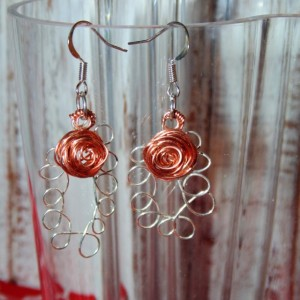 Drop Earrings, Sterling Silver, Natural Copper Rose Wire Design