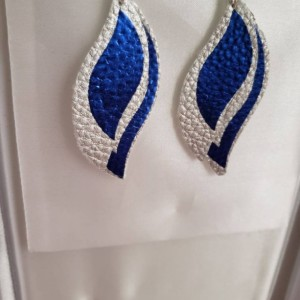 Silver and metallic blue, faux leather, nickel free fishhook earrings
