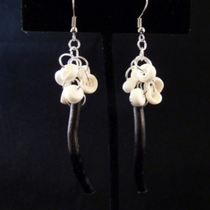 Hawaiian White Puka Shell Clustered Over Blac Branch Coral Earrings