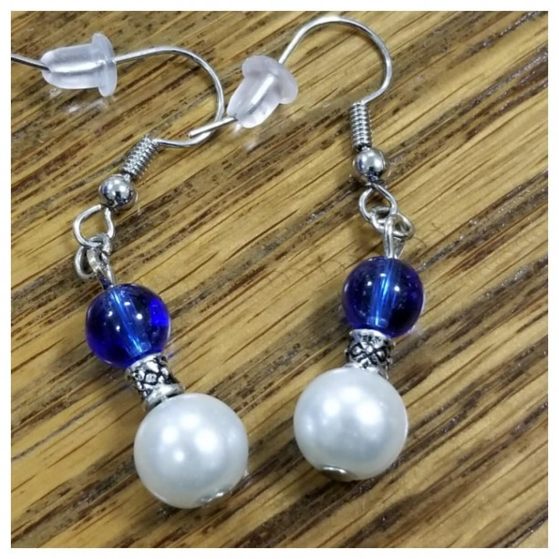 Sapphire Blue and White Pearl