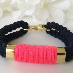 Nautical Navy Blue Double Rope Bracelet with Neon Pink Wrap