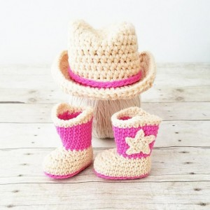 Crochet Baby Cowboy Hat and Boots Set