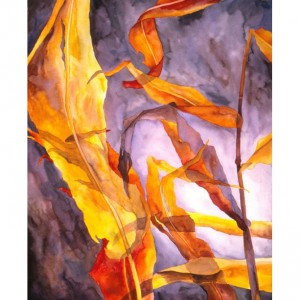 metal print: marsala, yellow, orange, red, gray, violet, blue, brown autumn leaves art metal print of watercolor painting by Hawaii artist Donia Lilly