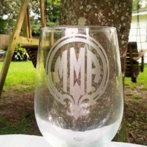 Fleur De Lis Monogram Wine Glass, Round Monogram, Etched Glassware