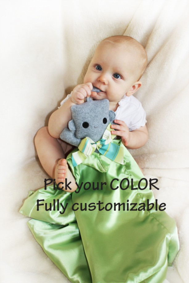 Gray Robot Security Blanket Lovey Satin Baby Stuffed Animal