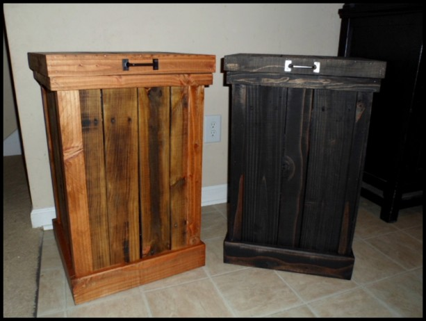 Kitchen Waste Basket Holder: 30 Gallon Wood Kitchen Trash Can