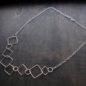 "Sterling Silver 21"" Square Transformations Geometric Necklace"