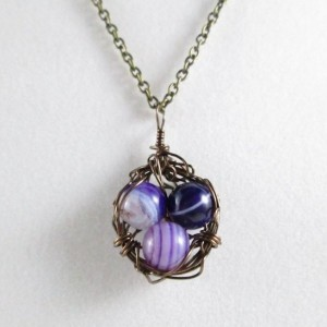 Mama Bird Nest with Purple Agate Gemstone Egg Pendant Necklace
