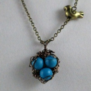 Bird Nest with Blue Turquoise Egg Pendant Necklace