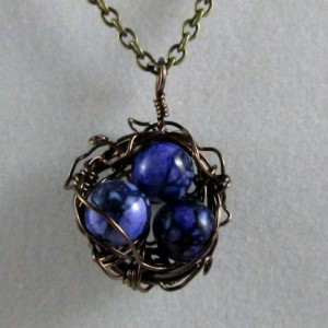 Mama Bird Nest with Marbled Purple Stone Egg Pendant Necklace