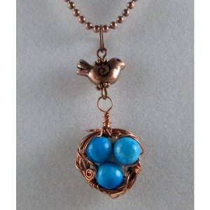 Mama Bird Nest with Sky Blue Gemstone Egg Pendant Necklace