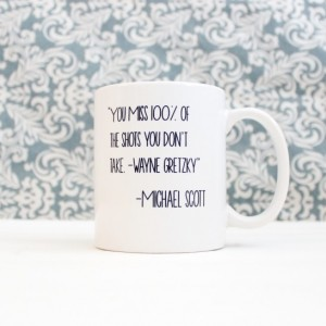 Wayne Gretzky Michael Scott Quote Mug - The Office tv Show Pop Culture - coffee cup, pencil holder, catch-all - Ready to Ship