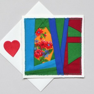 Patchwork LOVE card -- handmade quilt block sewn greeting card