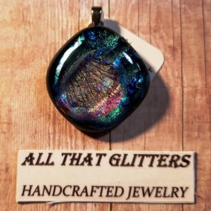 Silver, Gold & Blue Fused Dichroic Glass Pendant