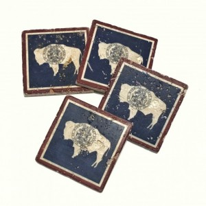 Wyoming State Flag Natural Stone Coasters, Set of 4 with Full Cork Bottom