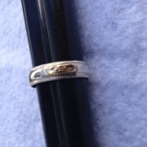 STERLING SILVER BAND W/14kt GOLD ACCENT