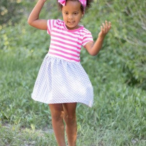 Alice Play Dress | Pink Stripes and Gray Polka Dots
